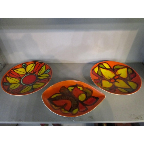 29 - Poole pottery - a group of three mid 20th century Delphins leaf pattern dishes, comprising a spear s...