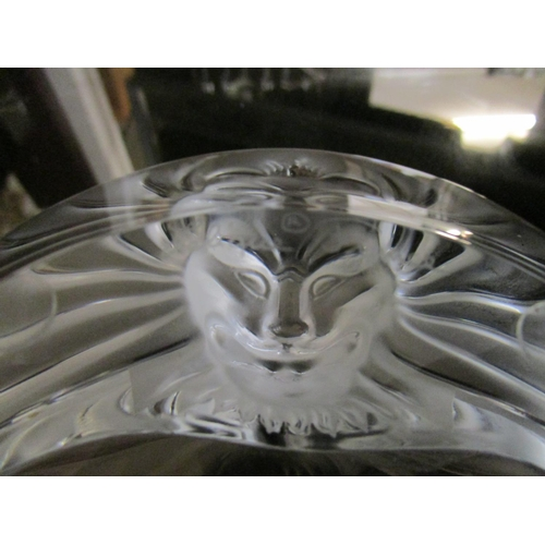 3 - Lalique - a clear and frosted glass Tele de Lion circular ashtray, engraved Lalique France signature...