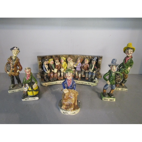 31 - Runnaford Pottery - Will and Alan Young, a group of Widecombe pottery figurines to include a pottery...