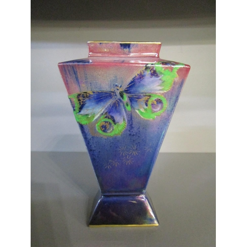32 - Walter Slater for Shelley China ( Wileman & Co) - a butterfly lustre decorated vase of rectangular s...