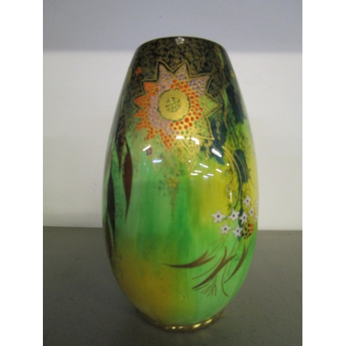 35 - A Carlton ware Babylon pattern yellow sponged, green lustre vase, pattern 4125, circa 1937, 6 1/2