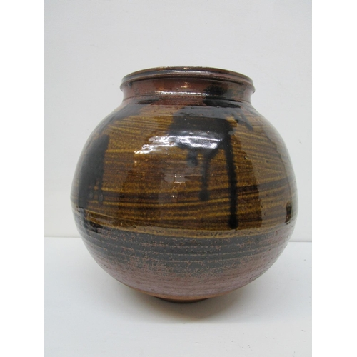 39 - Henry Fauchon Hammond 1914-1989 - a large studio pottery vase of globular form, black drips and spla...