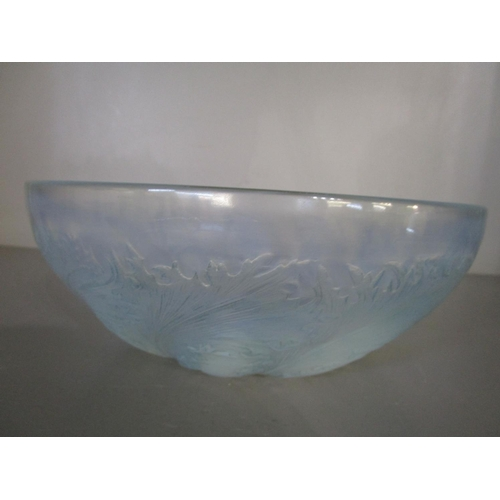 4 - A Rene Lalique - Chicoree pattern frosted and opalescent glass bowl, moulded R Lalique signature to ...