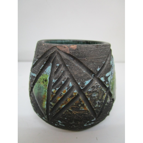42 - Cornish art pottery to include a Troika slab vase, geometric motifs in grey, blue and brown colours,...