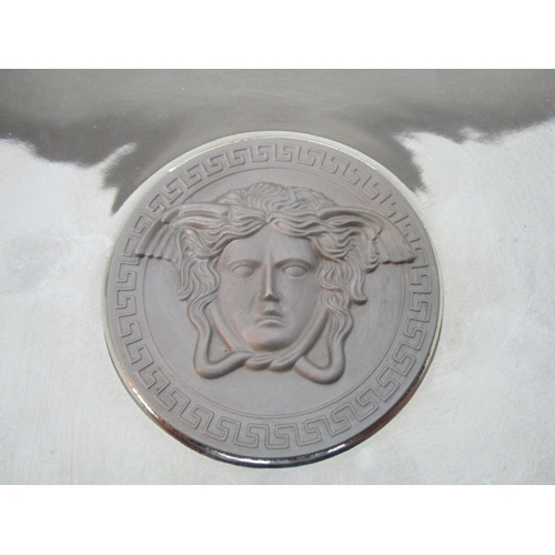 45 - Gianni Versace for Rosenthal - Medusa range, a platinum coloured dish with a central depiction of Me...