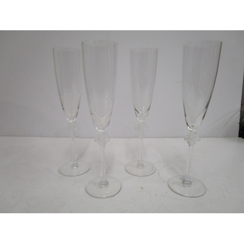 6 - Marc Lalique for Lalique Glass - a set of four Roxanne champagne flutes, the frosted and clear glass...