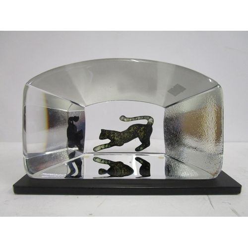 9 - Bertil Vallien (b.1938) for Kosta Boda - from the Viewpoints series, a shaped glass block with inter...