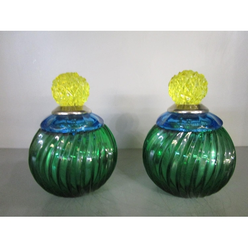 124 - Baldi Home Jewels - a pair of Italian small coccinella boxes from the Joy Crystal Collection in gree...