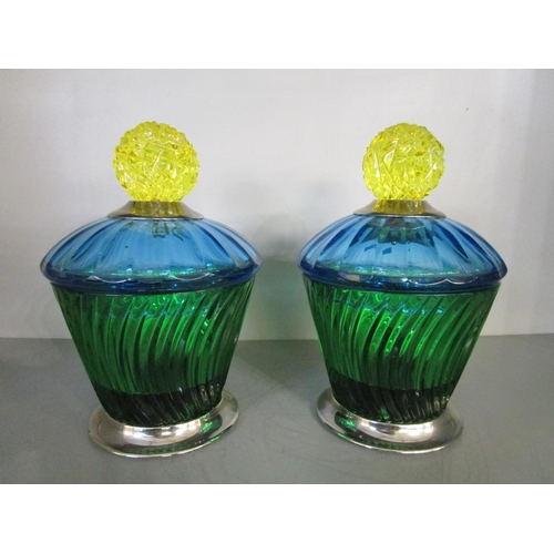 125 - Baldi Home Jewels - a pair of Italian Marika cups from the Joy Crystal Collection in green, with blu...