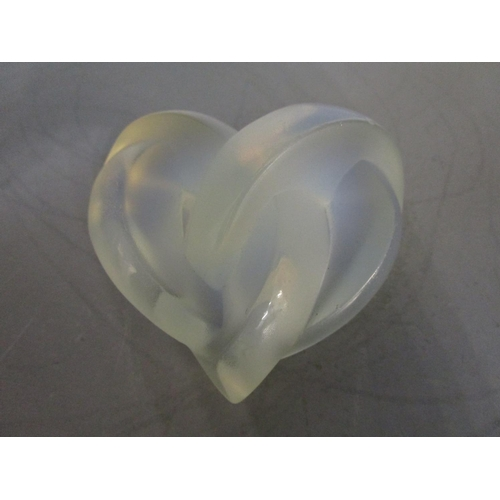 17 - Lalique Glass - two Coeur's Entrelaces, heart Love Knot ornaments/paperweights, unsigned, one in sat...