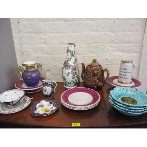 11 - Mixed 19th century and later ceramics to include a treacle glazed teapot and a porcelain vase with f...