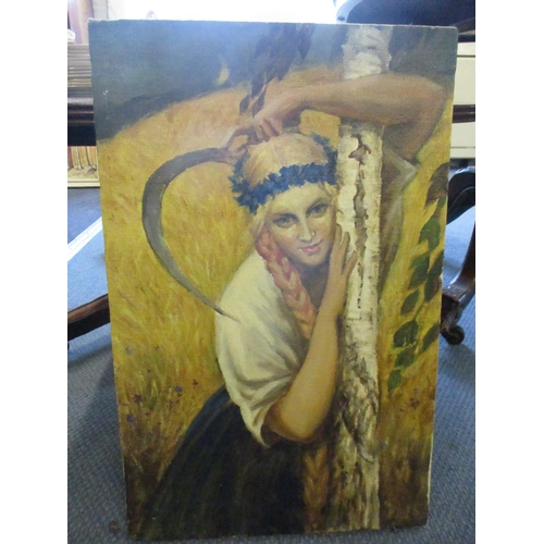 16 - Russian School - oil on canvas by A A Perov, Girl with Sickle, signed verso, 22