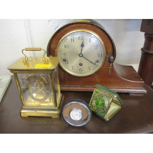 18 - A mahogany cased mantle clock, together with a mid 20th century travel clock, a white metal dressing...