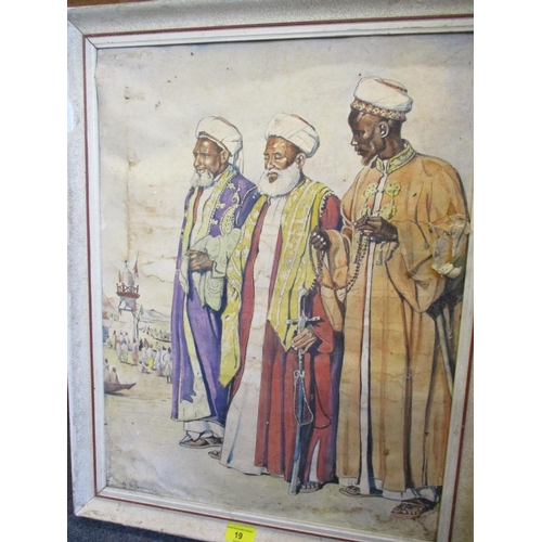 19 - A 1946 watercolour of an Arabic scene with three men in the foreground, signed indistinctly to the l...