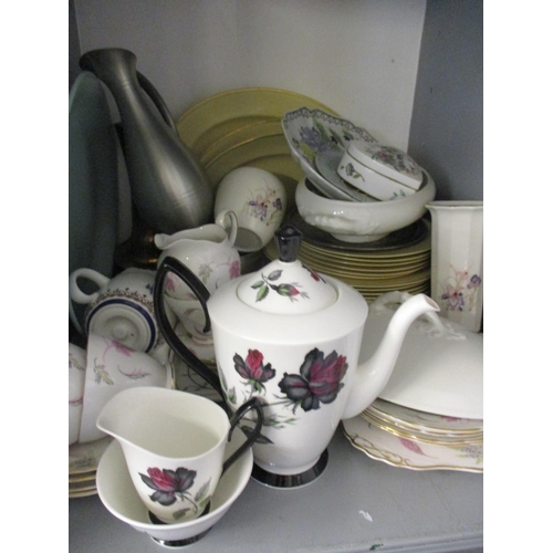 27 - A quantity of mixed ceramics to include oriental items and a Royal Albert Masquerade coffee pot, tog...