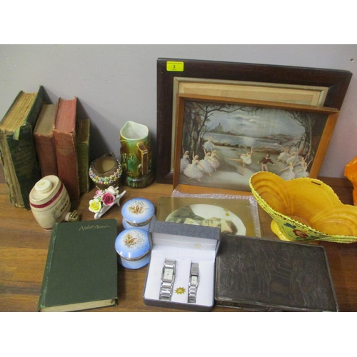 3 - A mixed lot to include a Mackintosh tin, The Gardener's Assistant Book with coloured plates, wristwa...