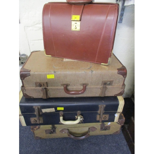 31 - Three vintage suitcases together with a late 20th century English brown leather briefcase Location: ...