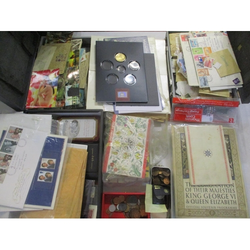 34 - Coins, stamps and printed ephemera to include £2 and 50 pence coin collections, first day covers, ra...