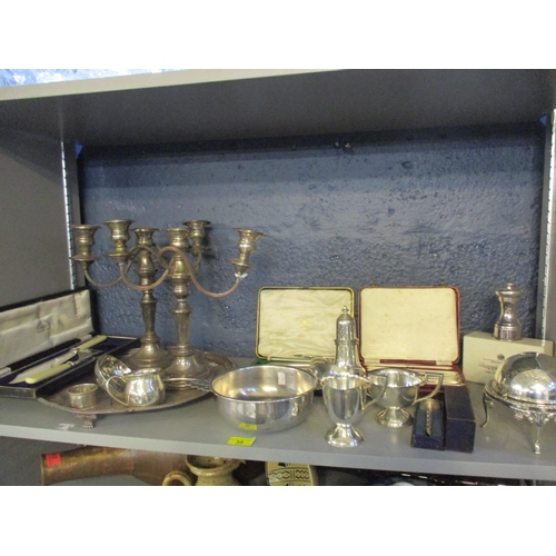 35 - A silver plated and footed tray together with mixed silver plate to include a Mappin and Webb lobste...