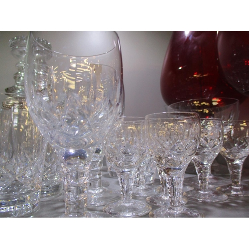 46 - Three glass decanters with two silver plated decanter labels, mixed domestic glass to include wine a...