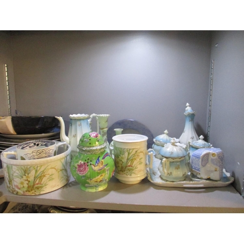 48 - A mixed lot of ceramics to include Royal Doulton vases, Lladro fan tail pigeon, cut glass oil lamp, ...