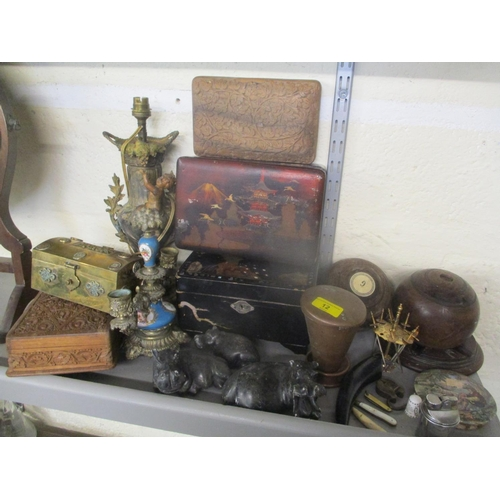 12 - A French ormolu candlestick, Japanese lacquered and Indian boxes, vintage bowls and other items Loca...