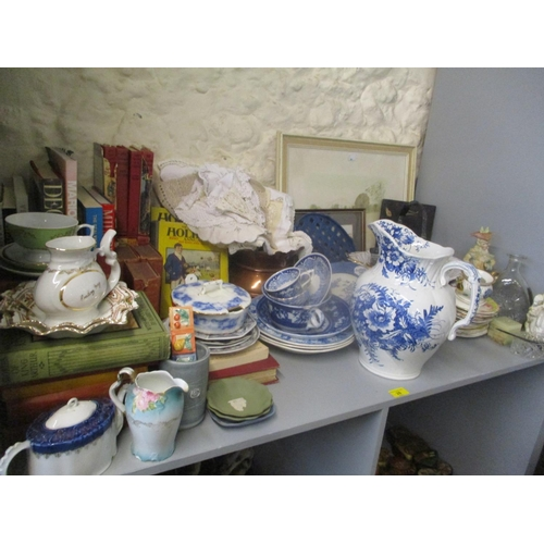 28 - Mixed pictures, ceramics and ornaments, together with vintage crochet table linen Location: LWB...