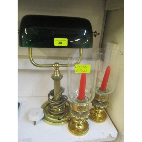 38 - A pair of gilt hurricane lamps and a desk lamp with green glass shade Location: RWM...