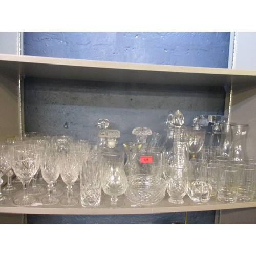 121 - A quantity of late 20th century cut glass and glassware to include a pair of contemporary Bohemian c...