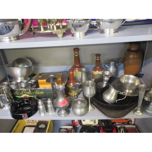 122 - Pewter items to include a Spartan pewter flask, empty Bells Whisky ceramic decanters and other items...
