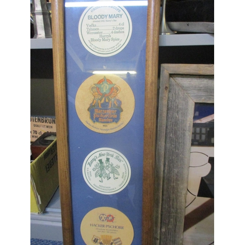 123 - A contemporary Fatty's Restaurant framed panel, mounted drinks mats, 2 framed pictures of mounted 19...