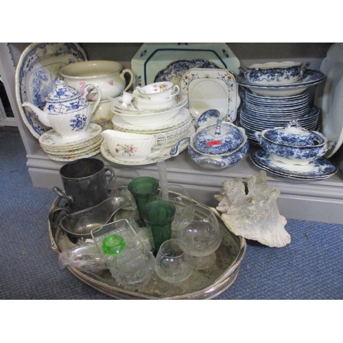 136 - This lot has been withdrawn  Ceramics and glassware to include a Minton Marlow pattern dinner servic...