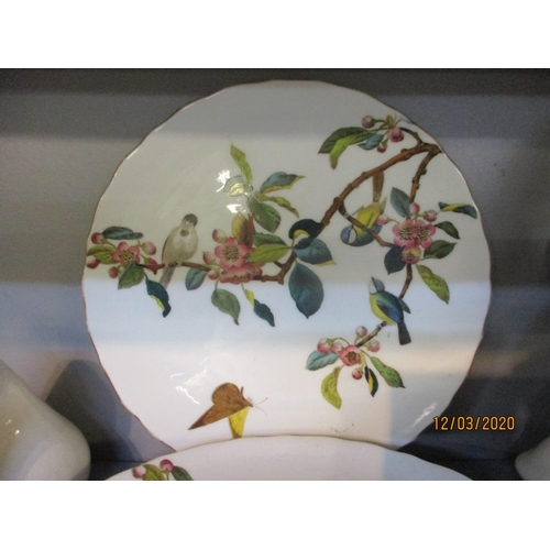 137 - A small quantity of mixed ornaments to include a floral and bird decorated part fruit set and a Llad...
