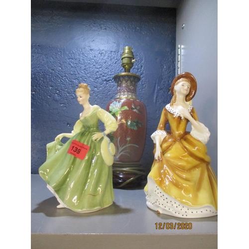 139 - A satsuma vase in the form of a lamp A/F and a Doulton figure and companion Location: 7:1...
