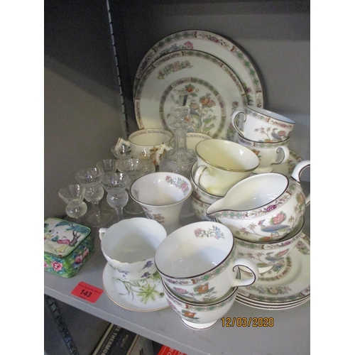 143 - A selection of miscellaneous ceramics to include a Wedgwood vase, mixed Coronation tankards to inclu...