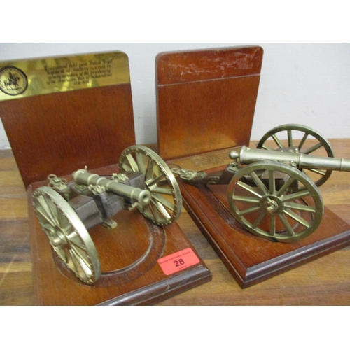 28 - A pair of British American Bicentenary brass cannons, each on mahogany bookend stands Location: RWB...