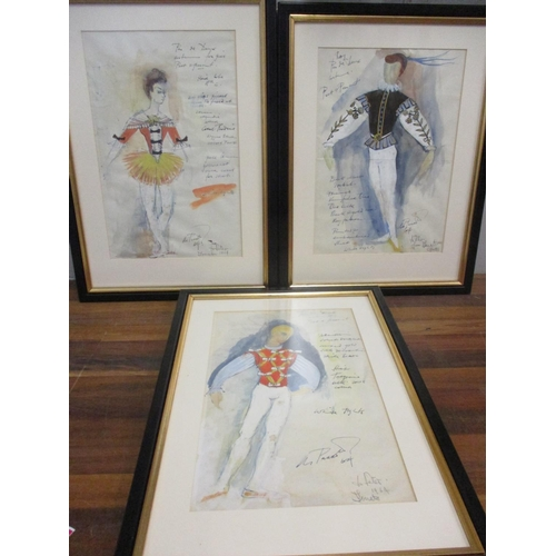 3 - Three Donato Forte costume designs watercolour, signed and dated with inscriptions Location: RWB...
