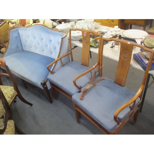 101 - An early 20th century walnut framed, button back, blue upholstered sofa, together with two Chinese a...