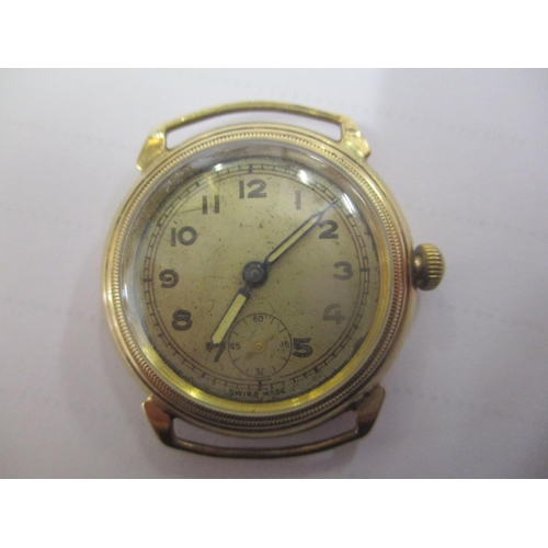 113 - A 9ct gold wristwatch with a Swiss 15 jewel movement and Arabic dial Location: CAB...