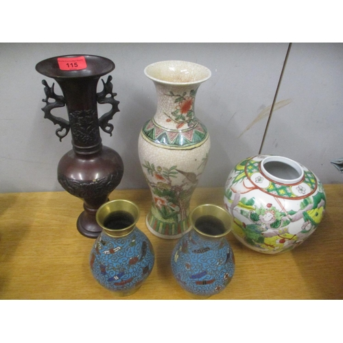 115 - Oriental collectables to include a pair of cloisonne vases, a bronze vase, a crackle glazed vase and...