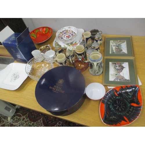 125 - Ceramics and glassware to include a Royal Doulton decanter, a pair of Royal Crown Derby Imari patter...