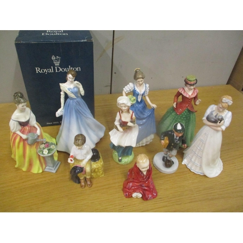 128 - Nine mixed Royal Doulton figures to include Alexandra, This Little Pig and others Location: 1:1...