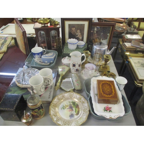 38 - A mixed lot include Alfred Meakin carriage clock, vanity set, jewellery box and other items Location...
