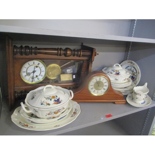 45 - A mixed lot to include a Victorian regulator wall clock, Seiko mantle clock and Wedgwood Chinese Tea...