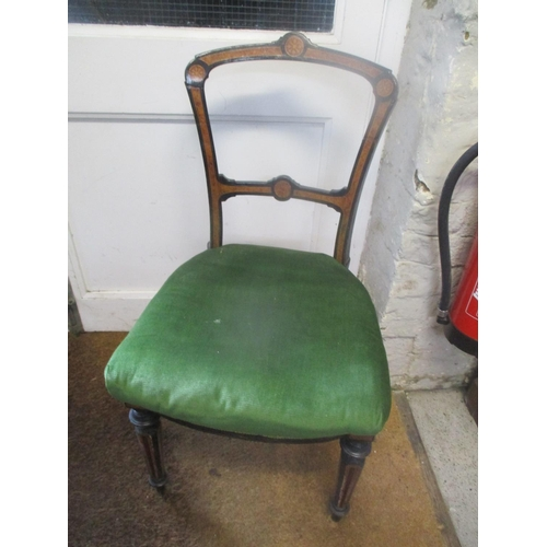 47 - A Victorian ebonized and burr walnut inlaid single chair having tapered and turned legs Location: G...
