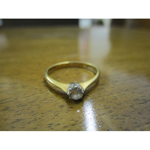 97 - 18ct yellow gold diamond solitaire ring Location: CAB...