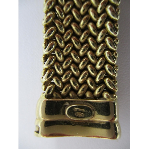 20 - An yellow gold coloured metal ladies bracelet with mesh link, stamped 750 7 1/2