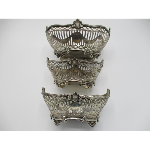 37 - Three late Victorian matching silver bon bon dishes, London 1896 by Walter Walker and Brownfield Tol...