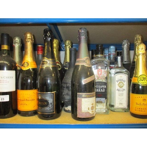 23 - This lots has been withdrawn A collection of twenty one bottles of mixed wine and spirit to include ...