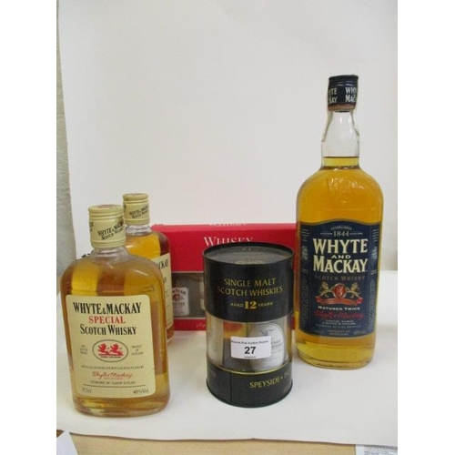 27 - Three bottles of Whyte & Mackay Scotch Whisky to include 37.5cl x 2 and 1lt bottle and two selection...